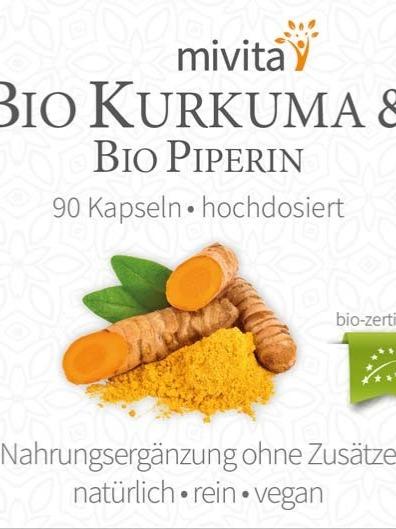 Bio Kurkuma mit schwarzem Bio Pfeffer ( Piperin)